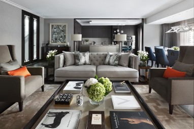 The Brummell Penthouse: Living and kitchen