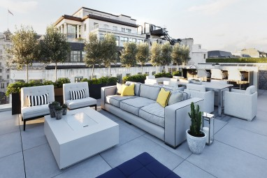 The Brummell Penthouse: Roof terrace with bespoke outdoor kitchen
