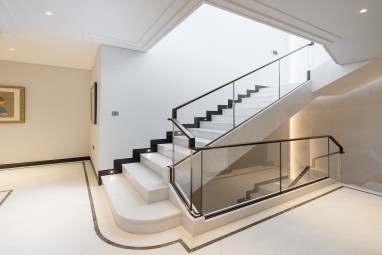 The Brummell Penthouse: Polished white Namibia marble staircase